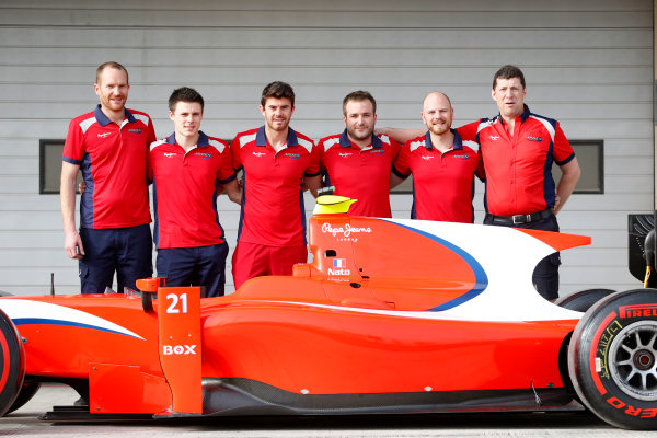 2015 GP2 Test 1 Yas Marina Circuit, Abu Dhabi, United Arab Emirates Wednesday 10 March 2015 Norman Nato (FRA, Arden Int) and his Arden mechanics  Photo: Jed Leicester/GP2 Series Media Service ref: Digital Image _JL14642