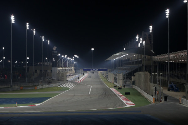 Lights as will be used for the Bahrain Grand Prix night race. Formula One Testing, Day One, Bahrain International Circuit, Sakhir, Bahrain, Wednesday 19 February 2014.