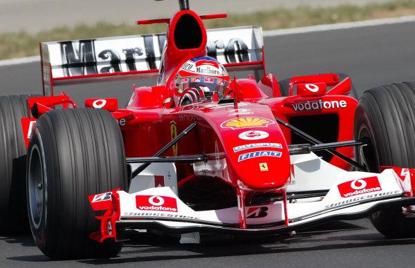2004 Hungarian Grand Prix - Friday Practice,2004 Hungarian Grand Prix Budapest, Hungary. 13th August 2004 Rubens Barrichello, Ferrari F2004. Action. World Copyright: Steve Etherington/LAT Photographic ref: Digital Image Only
