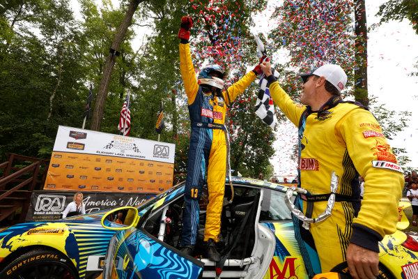 7-8 August, 2015, Elkhart Lake, Wisconsin, USA , 13, Porsche, 911, GS, Matt Plumb, Hugh Plumb celebrate in victory lane ? 2015, Michael L. Levitt LAT Photo USA