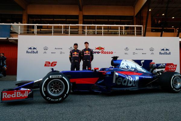 Toro Rosso STR12 Formula 1 Launch. Barcelona, Spain  Sunday 26 February 2017. Carlos Sainz Jr, Toro Rosso. and Daniil Kvyat, Toro Rosso.   World Copyright: Dunbar/LAT Images Ref: _31I9785