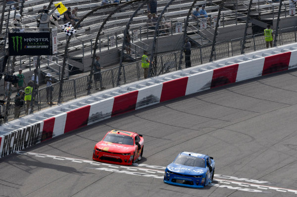 NASCAR Xfinity Series ToyotaCare 250 Richmond International Raceway, Richmond, VA USA Saturday 29 April 2017 Kyle Larson, Credit One Bank Chevrolet Camaro takes the checkered flag and the win World Copyright: Nigel Kinrade LAT Images ref: Digital Image 17RIC1nk08918