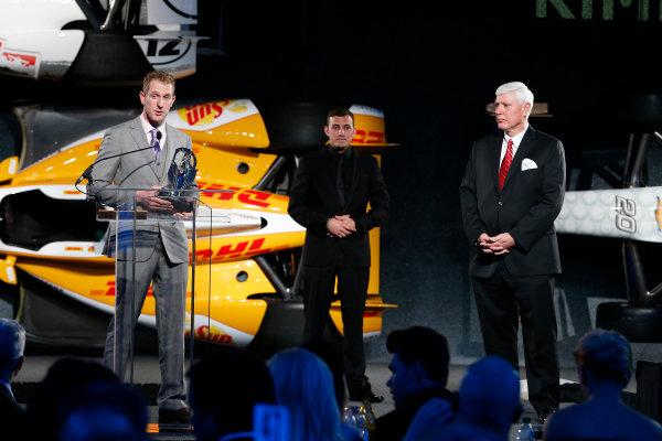 6 December, 2012, Indianapolis, Indiana, USA Charlie Kimball with Tony Renna Rising Star award.(c) 2012, Michael L. Levitt LAT Photo USA