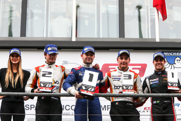 SPA-FRANCORCHAMPS 20-22 May 2016: Formula V8 3.5 at Spa-Francorchamps. Podium of race 2: Matthieux Vaxiviere #23 SMP RACING, Tom Dillmann #16 AVF, Alfonso Celis Jr. #15 AVF and Vitor Baptista #22 RP Motorsport (rookie). © 2016 Sebastiaan Rozendaal / Dutch Photo Agency / LAT Photographic