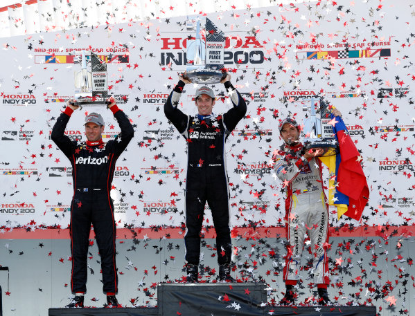 29-31 July, 2016, Lexington, Ohio USA Simon Pagenaud, Will Power, Carlos Munoz celebrate on the podium ?2016, Michael Levitt LAT Photo USA