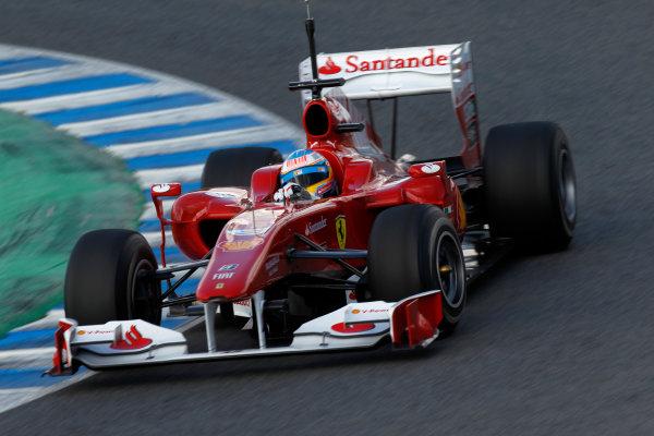 Jerez, Spain.11th February 2010.Fernando Alonso, Ferrari F10. Action.World Copyright: Andrew Ferraro /LAT Photographicref: Digital Image_Q0C5810 jpg