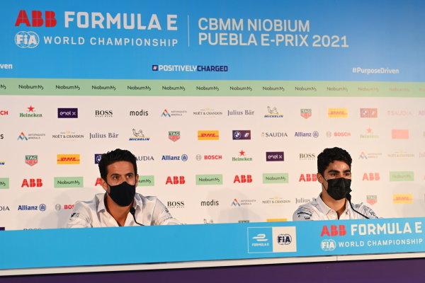 Lucas Di Grassi (BRA), and Sergio Sette Camara (BRA), at the CBMM Niobium press conference
