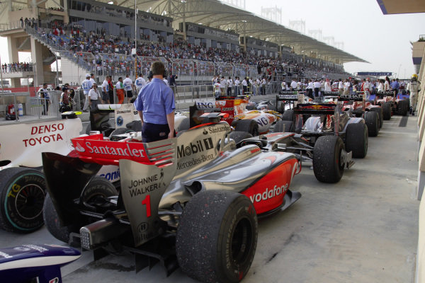 The rest of the field in parc ferme after the race.