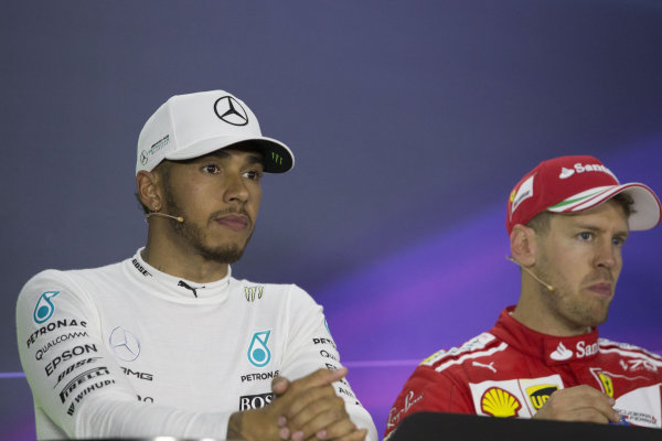 Lewis Hamilton (GBR) Mercedes AMG F1 and Sebastian Vettel (GER) Ferrari in the Press Conference at Formula One World Championship, Rd1, Australian Grand Prix, Race, Albert Park, Melbourne, Australia, Sunday 26 March 2017.
