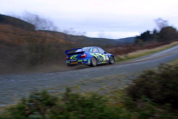 2001 FIA World Rally Championship.Rally Of Great Britain. Cardiff, Wales. November 22-25th.Richard Burns, Subaru Impreza WRC.Stage Five.Photo: Paul Dowker/LAT Photographic.World - LAT Photographic.8 9mb DIgital File Only