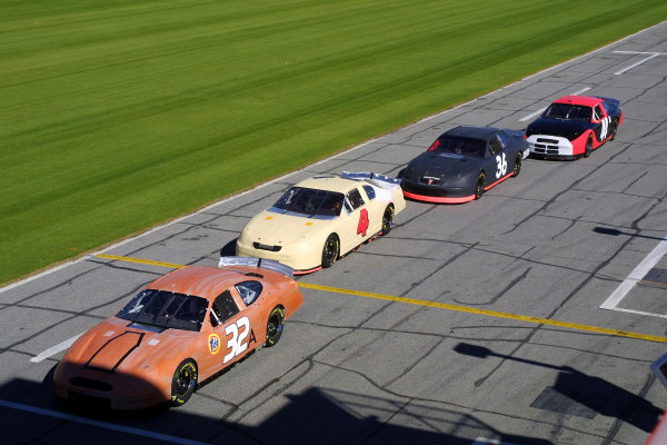 2002 NASCAR Cup TestingDaytona, Florida, USA. 8th January 2002.Four makes of NASCAR line up along the pit road.World Copyright: Greg Aleck/LAT Photographicref: Digital Image Only
