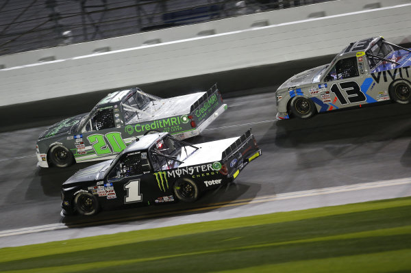 #20: Spencer Boyd, Young's Motorsports, Chevrolet Silverado Credit MRI, #1: Hailie Deegan, Team DGR, Ford F-150 Monster Energy, #13: Johnny Sauter, ThorSport Racing, Toyota Tundra Vivitar/RealTree