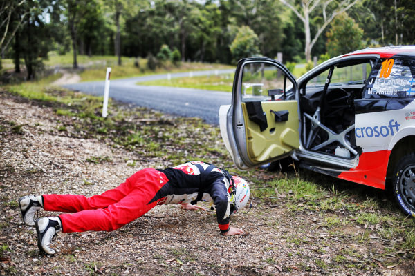 Jari-Matti Latvala (FIN), Toyota Gazoo Racing WRC press ups / warm up exercises at World Rally Championship, Rd13, Rally Australia, Day Two, Coffs Harbour, New South Wales, Australia, 18 November 2017.