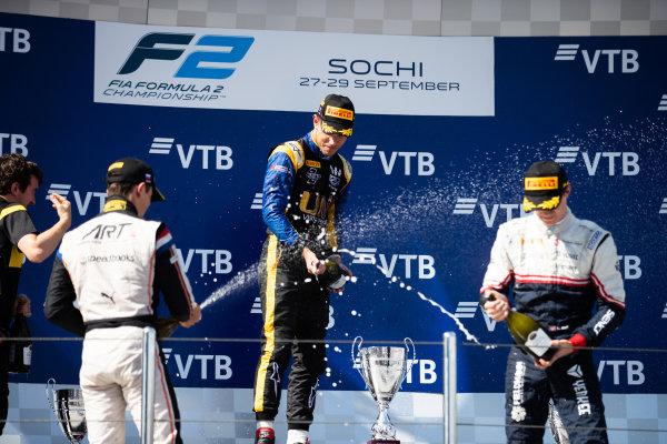 SOCHI AUTODROM, RUSSIAN FEDERATION - SEPTEMBER 29: Luca Ghiotto (ITA, UNI VIRTUOSI) Nyck De Vries (NLD, ART GRAND PRIX) ans Callum Ilott (GBR, SAUBER JUNIOR TEAM BY CHAROUZ) during the Sochi at Sochi Autodrom on September 29, 2019 in Sochi Autodrom, Russian Federation. (Photo by Joe Portlock / LAT Images / FIA F2 Championship)