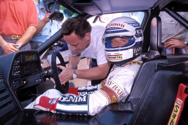 Riccardo Patrese in the cockpit of the Alfa Romeo 164 Procar, which was built by Brabham