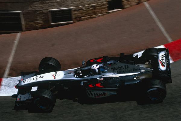 2002 Monaco Grand Prix.Monte Carlo, Monaco. 24-26 May 2002.David Coulthard (McLaren MP4/17 Mercedes) at Lower Mirabeau.Ref-02 SM 41.World Copyright - Lorenzo Bellanca/LAT Photographic