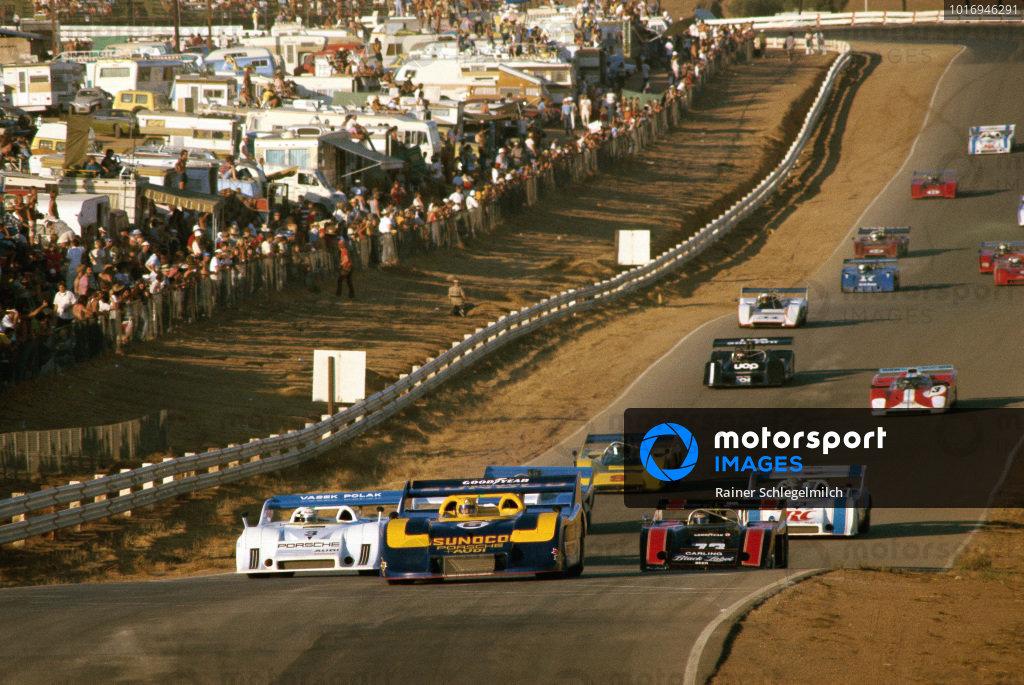 Mark Donohue, Roger Penske Ent. Inc., Porsche 917/30 TC leads Brian Redman, Vasek Polak Racing, Porsche 917/10 TC and David Hobbs, Roy Woods Racing, McLaren M20 Chevrolet.