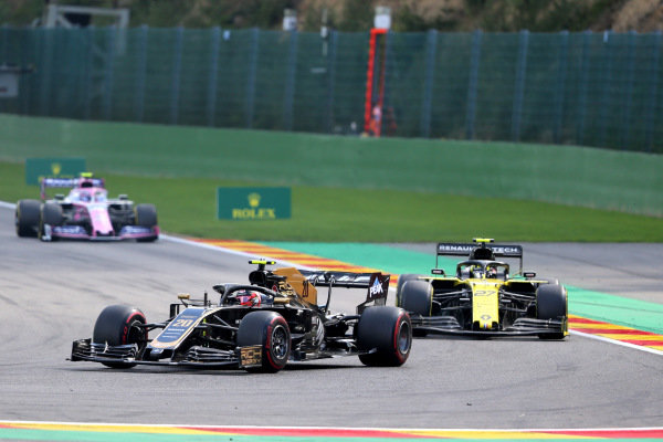 Kevin Magnussen, Haas VF-19, leads Nico Hulkenberg, Renault R.S. 19, and Lance Stroll, Racing Point RP19