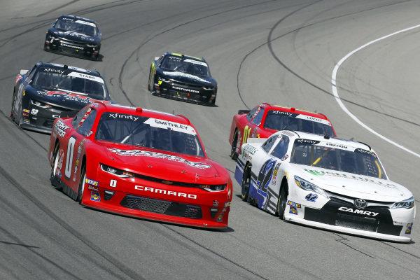 #0: Garrett Smithley, JD Motorsports, Chevrolet Camaro Victory Lane and #42: Chad Finchum, Motorsports Business Management, Toyota Supra MBM Motorsports