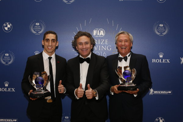2016 FIA Prize Giving Vienna, Austria Friday 2nd December 2016 Sebastien Buemi, Alejandro Agag and Jean-Paul Driot. Photo: Copyright Free FOR EDITORIAL USE ONLY. Mandatory Credit: FIA ref: 31381750775_730a0accbe_o