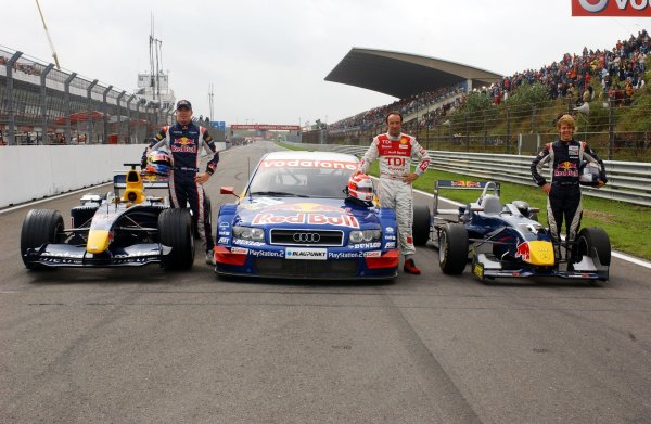 2006 DTM Championship.Round 7, Circuit Park Zandvoort. 1st - 3rd September 2006.The Red Bull demo: ( left) Robert Doornbos (NED), Red Bull Racing F1 driver; (middle) Marco Werner, Audi driver; (right) Sebastian Vettel (GER), ASM Formula 3, Dallara F305 Mercedes on the straight.World Copyright: Pieters/xpb cc/LATref: Digital Image Only