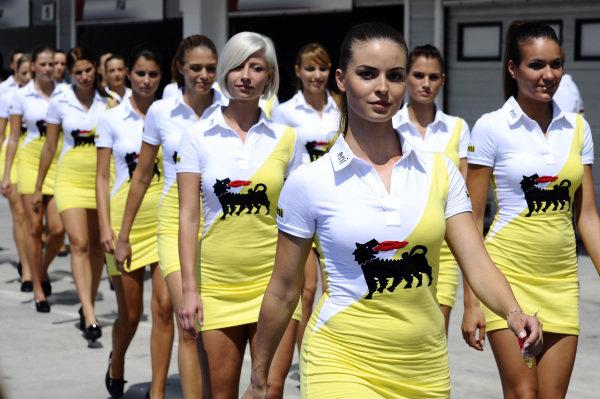Grid girls. Formula One World Championship, Rd11, Hungarian Grand Prix, Race Day, Budapest, Hungary, Sunday 29 July 2012.