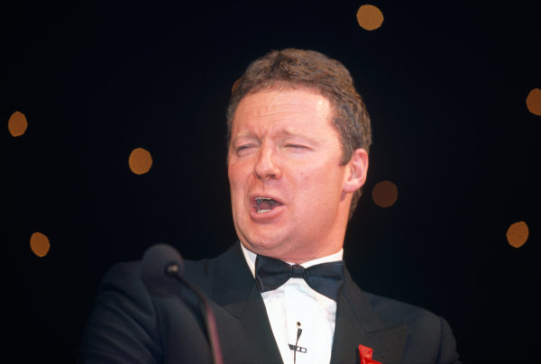 1995 Autosport Awards. Grosvenor House Hotel, Park Lane, London. 3rd December 1995. Rory Bremner gives a speech on stage, portrait.  World Copyright: LAT Photographic. Ref:  Colour Transparency.