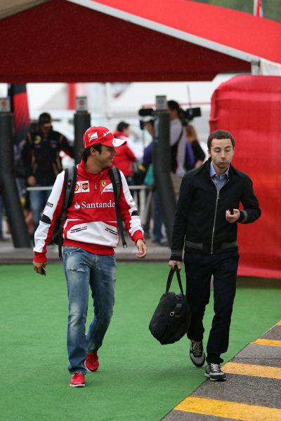 Felipe Massa (BRA) Ferrari and Nicolas Todt (FRA) Driver Manager. Formula One World Championship, Rd5, Spanish Grand Prix, Practice, Barcelona, Spain, Friday 10 May 2013.