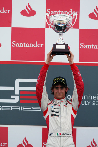 Race winner Esteban Gutierrez (MEX) ART Grand Prix celebrates on the podium.