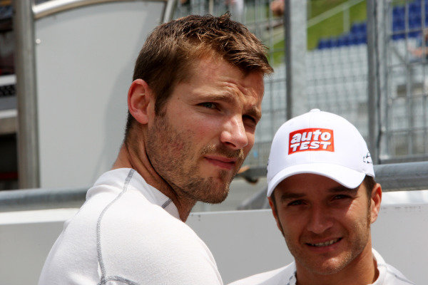 L-R: Martin Tomczyk (GER), Audi Sport Team Phoenix and Timo Scheider (GER), Audi Sport Team Abt.DTM, Rd3, Red Bull Ring, Spielberg, Austria. 3-5 June 2011.
