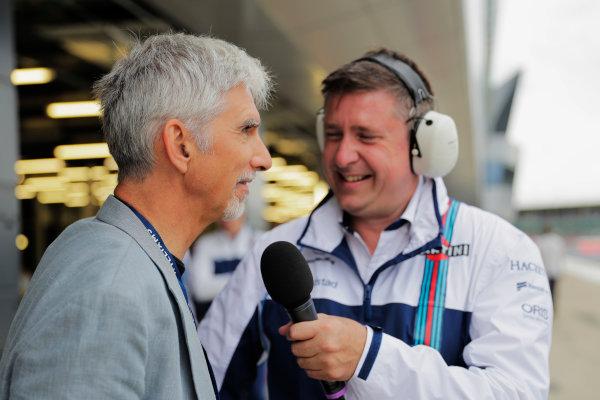 Williams 40 Event Silverstone, Northants, UK Friday 2 June 2017. David Croft interviews Damon Hill. World Copyright: Zak Mauger/LAT Images ref: Digital Image _56I0272