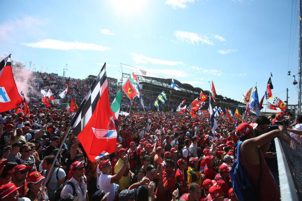 Hungaroring, Budapest, Hungary.  Sunday 30 July 2017. Ferrari fans celebrate after the race. World Copyright: Coates/LAT Images  ref: Digital Image AN7T9737