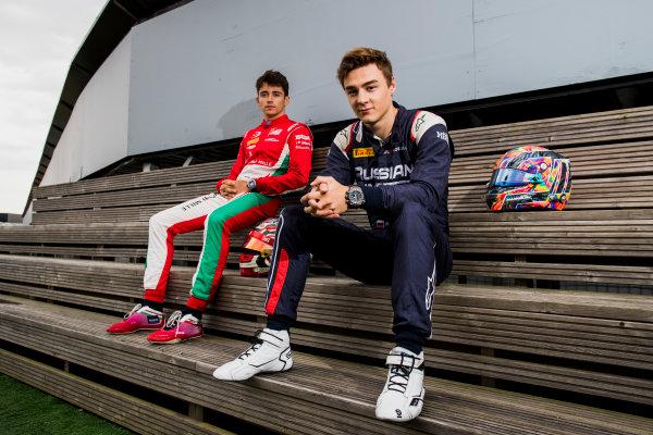 2017 FIA Formula 2 Round 6. Silverstone, Northamptonshire, UK. Thursday 13 July 2017. Charles Leclerc (MCO, PREMA Racing) and Artem Markelov (RUS, RUSSIAN TIME).  Photo: Zak Mauger/FIA Formula 2. ref: Digital Image _56I6253