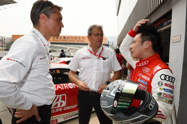 Rene Koneberg (D) Director of Audi Sport customer racing Asia , Ernst Moser (D) Team Principal, Team Phoenix Racing and Marchy Lee (CHN) Audi Hong Kong Team at Audi R8 LMS Cup, Zhuhai, China, 21  March 2015.