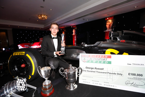 2014 Autosport Awards. Grosvenor House Hotel, Park Lane, London. Sunday 7 December 2014. George Russell wins the 2014 McLaren AUTOSPORT BRDC Award. World Copyright: Sam Bloxham/LAT Photographic. ref: Digital Image _14P4031