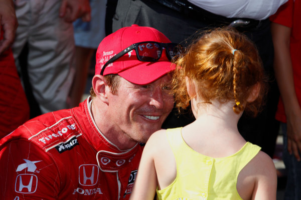 14 July, 2013,  Toronto, Ontario, CAN Scott Dixon chats with his daughter Poppy in victory lane ©2013, Phillip Abbott LAT Photo USA