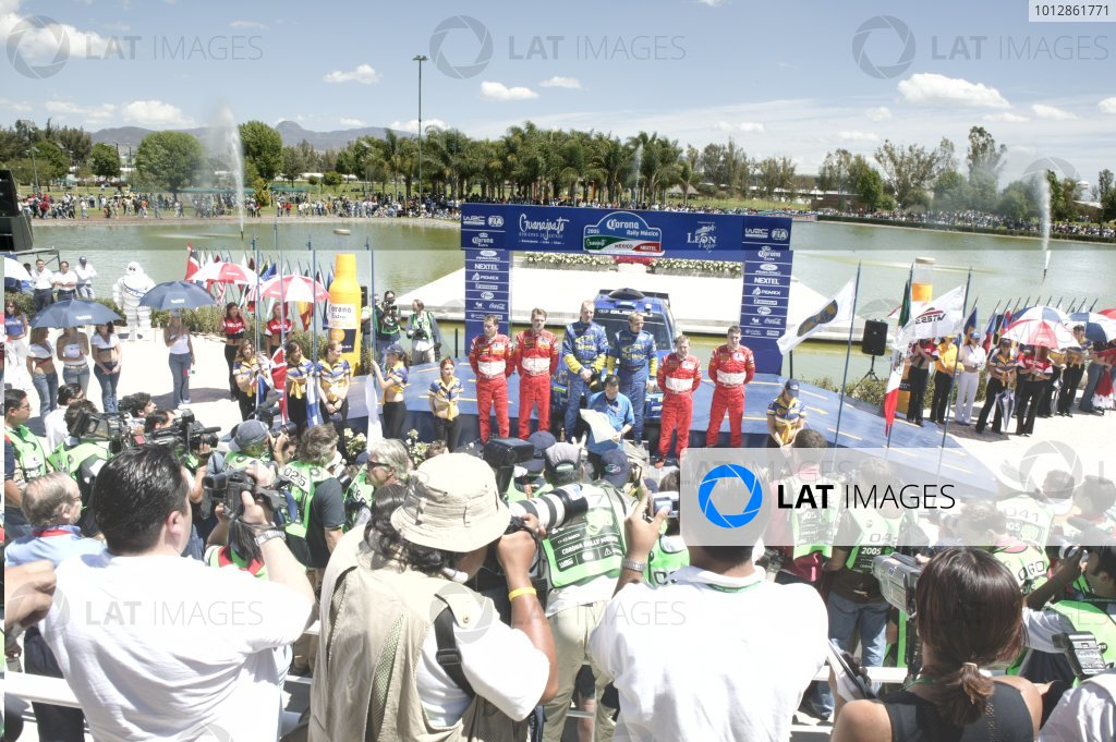 2005 FIA World Rally Championship Round 3, Mexico Rally. 10th - 13th March 2005. Petter Solberg/Phil Mills, 1st position, Marcus Gronholm/Timo Rautiainen, 2nd Position and Markko Martin/Michael Park, 3rd position, podium. World Copyright: McKlein/LAT Photographic. ref: Digital Image Only.