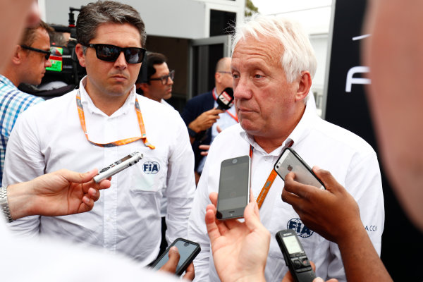 Autodromo Nazionale di Monza, Italy. Thursday 31 August 2017 Charlie Whiting talks to the media. Photo: Sam Bloxham/FIA Formula 2 ref: Digital Image _W6I2077