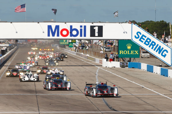Sebring, Florida, USA. 15th-17th March 2012,Start of the Sebring 12 hours, Andre Lotterer/Benoit Treluyer/Marcel Fassler - Audi Sport Team Joest Audi R18 TDI leads at the first turn.World Copyright: Ebrey/LAT Photographic.