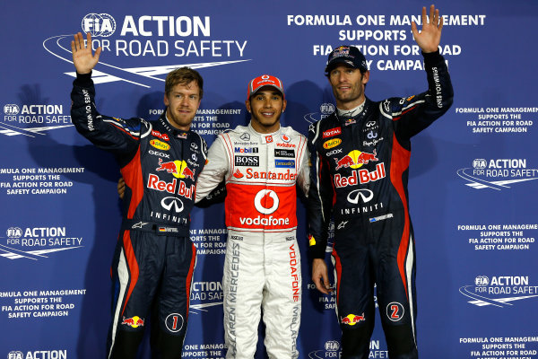Yas Marina Circuit, Abu Dhabi, United Arab Emirates Saturday 3rd November 2012. Lewis Hamilton, McLaren claimed pole position ahead of Mark Webber, Red Bull Racing and Sebastien Vettel, Red Bull Racing.  World Copyright:Andrew Ferraro/  ref: Digital Image _79P2861
