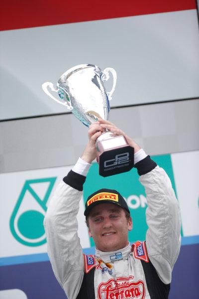 2013 GP2 Series. Round 1.  Sepang, Kuala Lumpur, Malaysia. 24th March 2013.  Sunday Race.  Stefano Coletti (MON, Rapax) celebrates his victory. World Copyright: Alastair Staley/GP2 Series Media Service.  ref: _89P0602