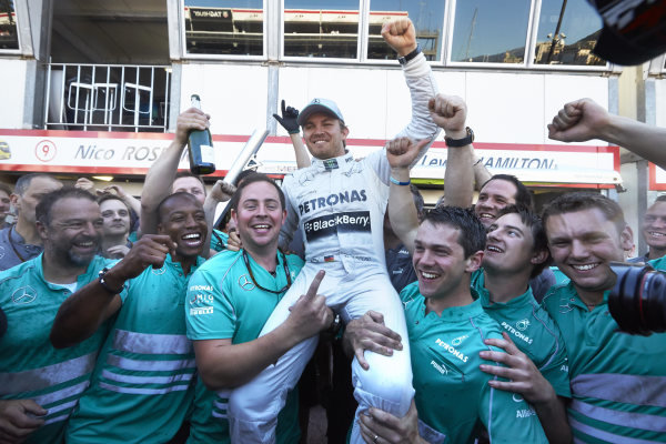 o 26th May 2013. Nico Rosberg and the Mercedes team celebrate victory. World Copyright: Steve Etherington/c ref: Digital Image SNE23971 copy