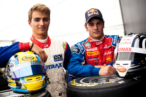 Round 5. Nurburgring, Germany. 21st July 2011.Thursday Preview. Nico Muller, (SUI, Jenzer Motorsport) and Lewis Williamson, (GBR, MW Arden), winners of races 7 and 8 at round 4 in Silverstone. Portrait. Photo: Drew Gibson/GP3 Media Service.  ref: Digital Image DG5D5638