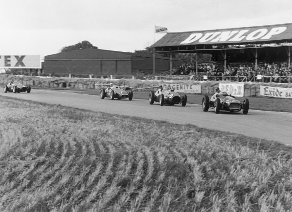 Goodwood, East Sussex, England. 25th September 1954.Ken Wharton (BRM P30 MkII), 2nd position leads Peter Collins (Ferrari Thinwall), 1st position, Stirling Moss (#7 Maserati 250F), 3rd position and Mike Hawthorn (#8 Vanwall Special), 4th position, action. World Copyright: LAT PhotographicRef: 249 -5.
