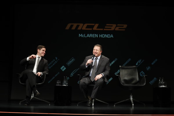 McLaren MCL32 Honda Formula 1 Launch. McLaren Technology Centre, Woking, UK. Friday 24 February 2017. Zak Brown, Executive Director of McLaren Technology Group, is interviewed on stage. World Copyright: Glenn Dunbar/LAT Images Ref: _X4I9424