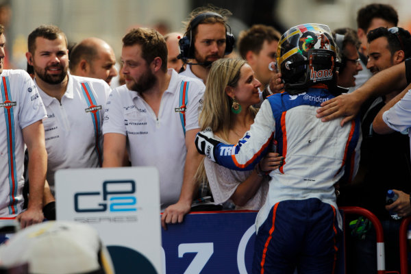 2014 GP2 Series Round 2 - Race 1. Circuit de Catalunya, Barcelona, Spain. Saturday 10 May 2014. Johnny Cecotto (VEN, Trident) celebrates his win with his family Photo: Sam Bloxham/GP2 Series Media Service. ref: Digital Image _G7C6862