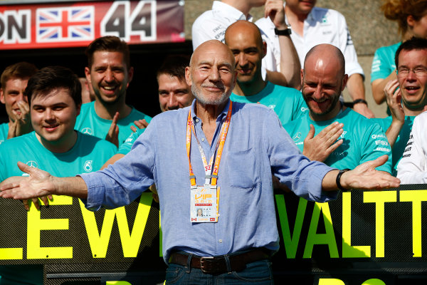 Circuit Gilles Villeneuve, Montreal, Canada. Sunday 11 June 2017. Sir Patrick Stewart celebrates with the Mercedes team. World Copyright: Andrew Hone/LAT Images ref: Digital Image _ONY7207