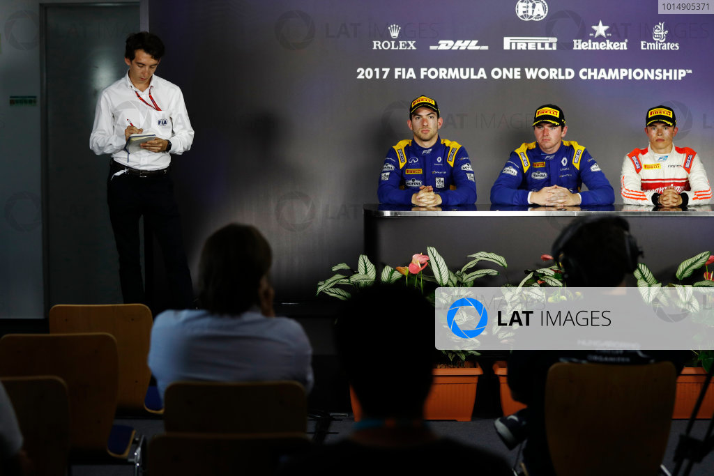 Hungaroring, Budapest, Hungary.  Saturday 29 July 2017. The feature race F2 press conference. L-R: Nicholas Latifi (CAN, DAMS) 2nd, race winner Oliver Rowland (GBR, DAMS), and Nyck De Vries (NED, Rapax), 3rd. World Copyright: Glenn Dunbar/FIA Formula 2 Media Service.  ref: Digital Image _X4I0076