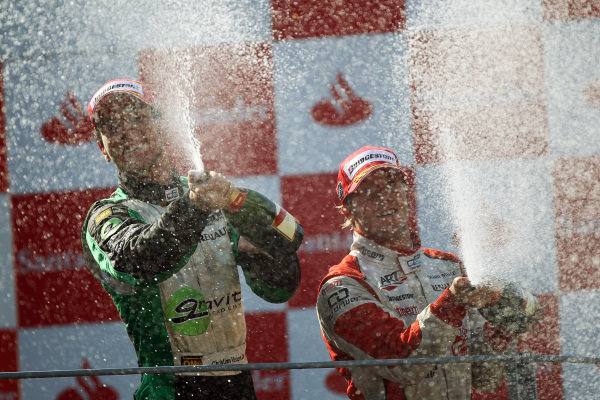 Race winner Christian Vietoris (GER) Racing Engineering celebrates on the podium. GP2 Series, Rd 9, Race 2, Monza, Italy, Sunday 12 September 2010.