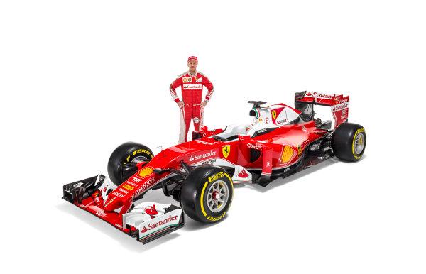 Ferrari SF16-H Reveal. Friday 19 February 2016. Sebastian Vettel, Ferrari, with the Ferrari SF16-H. Photo: Ferrari (Copyright Free FOR EDITORIAL USE ONLY) ref: Digital Image 160012_new-SF16-h